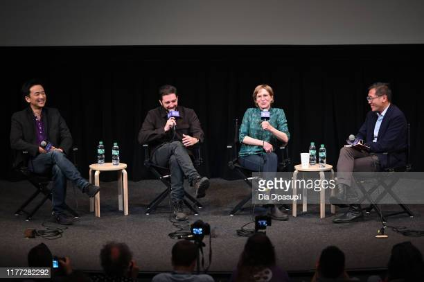 Orion Lee John Magaro director Kelly Reichardt and Dennis Lim at the First Cow press conference during the 57th New York Film Festival at Walter...