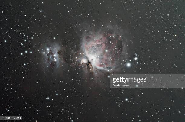 orion nebula m42 and running man nebula ngc 1977 shot on the 23rd january 2021 in eastbourne east sussex - constellation stock pictures, royalty-free photos & images