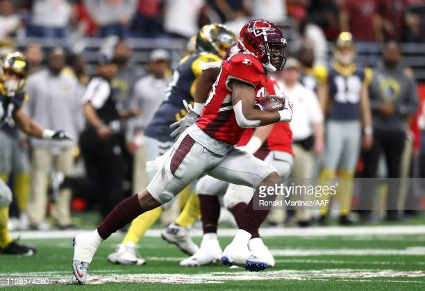 OrionStewart of the San Antonio Commanders runs with the ball after intercepting a pass during the second quarter against the San Diego Fleet in an...