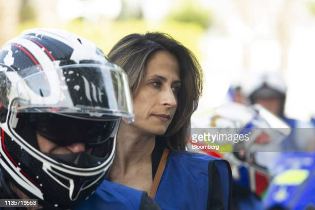 Orit Farkash Hacohen member of the Blue and White party arrives with a caravan of 100 motorcycles as part of an 'Every Voice Counts' campaign event...