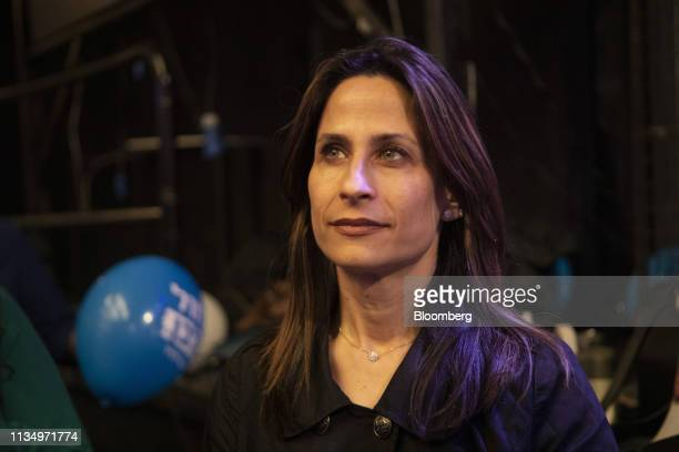 OritFarkashHacohen member of the Blue White party attends a rally at the Cameri theatre in Tel Aviv Israel on Thursday April 4 2019 Israels Blue...