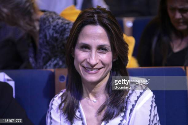 OritFarkashHacohen member of the Blue White party poses for a photograph during a rally at the Cameri theatre in Tel Aviv Israel on Thursday April 4...
