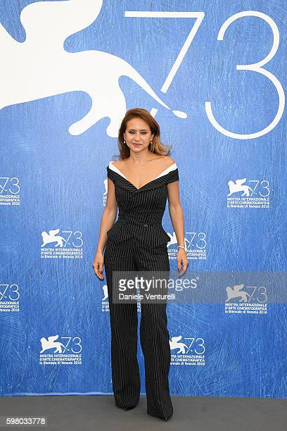 'Orizzonti' jury member Nelly Karim attends the photocall of the jury during the 73rd Venice Film Festival on August 31 2016 in Venice Italy