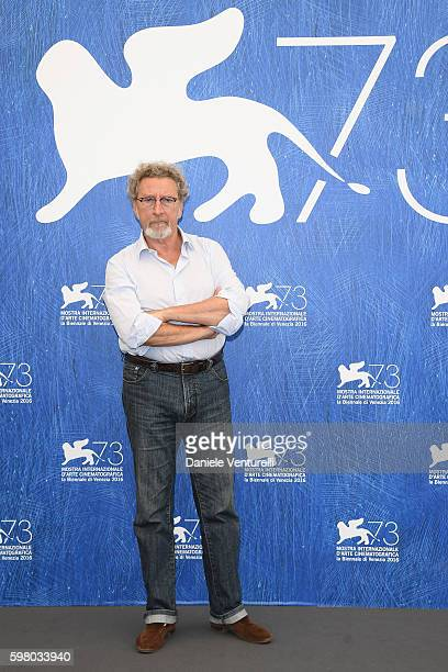 Orizzonti' jury president Robert Guediguian attends the photocall of the jury during the 73rd Venice Film Festival on August 31, 2016 in Venice,...