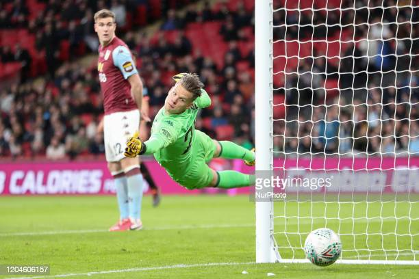 Orjan Nyland of Aston Villa during the Carabao Cup Final between Aston Villa and Manchester City at Wembley Stadium London on Sunday 1st March 2020
