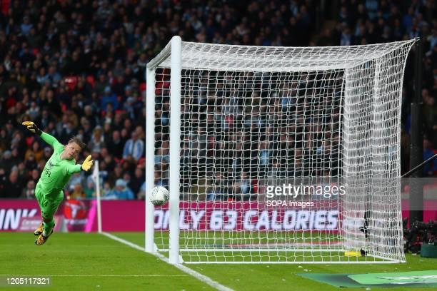 Orjan Nyland of Aston Villa in action during the Carabao Cup Final match between Aston Villa and Manchester City at Wembley Stadium