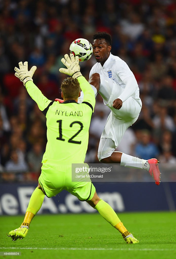Orjan Nyland of Norway comes out to make a save from Daniel Sturridge of England during the International friendly match between England and Norway at Wembley Stadium on September 3, 2014 in London, England.