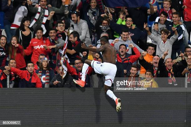 Orji Okwonkwo of Bologna FC celebrates after scoring the opening goal during the Serie A match between US Sassuolo and Bologna FC at Mapei Stadium...