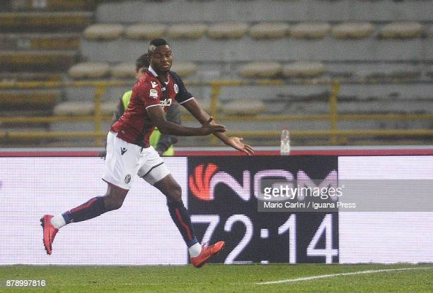 Orji Okwonkwo of Bologna FC clebrates after scoring his tem's third goal during the Serie A match between Bologna FC and UC Sampdoria at Stadio...