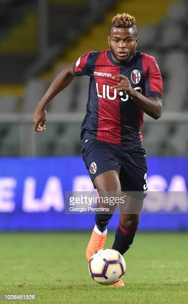Orji Okwonkwo of Bologna FC controls the ball during the serie A match between Frosinone Calcio and Bologna FC at Olimpico Stadium on August 26 2018...