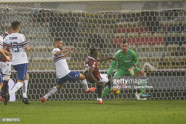 Orji Okwonkwo of Bologna FC scores his tem's third goal during the Serie A match between Bologna FC and UC Sampdoria at Stadio Renato Dall'Ara on...