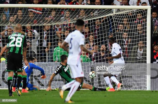 Orji Okwonkwo of Bologna FC scores the opening goal during the Serie A match between US Sassuolo and Bologna FC at Mapei Stadium Citta' del Tricolore...