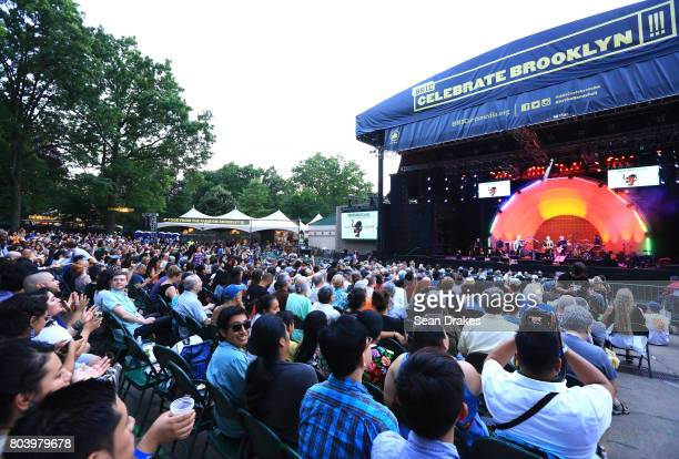Orkesta Mendoza performs during a show as part of the 39th annual BRIC Celebrate Brooklyn Festival at the Prospect Park Bandshell on June 29 2017 in...