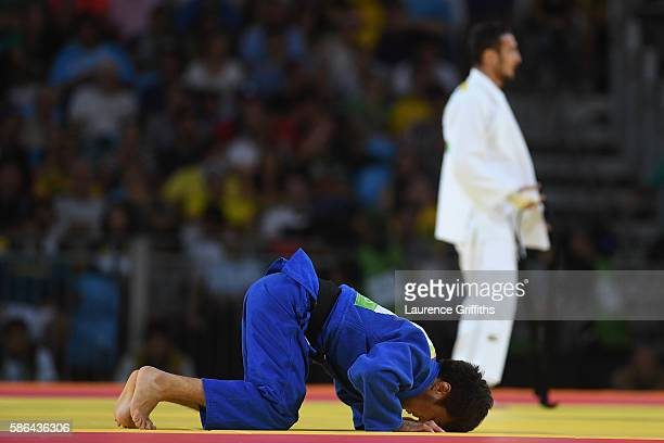 Orkhan Safarov of Azerbaijan competes against Yeldos Smetov of Kazakhstan during the men's 60kg judo contest on Day 1 of the Rio 2016 Olympic Games...