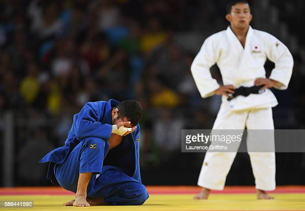 Orkhan Safarov of Azerbaijan reacts after defeating Naohisa Takato of Japan during the Men's 60 kg Bronze Medal A contest on Day 1 of the Rio 2016...