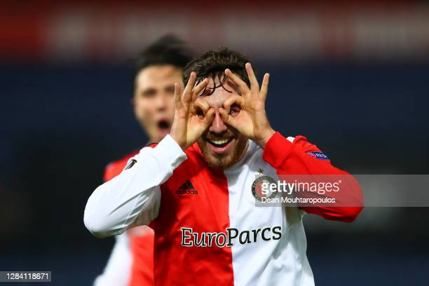 Orkun Kokcu of Feyenoord celebrates after scoring his team's second goal during the UEFA Europa League Group K stage match between Feyenoord and CSKA...