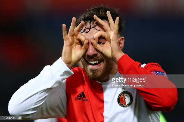 Orkun Kokcu of Feyenoord Rotterdam celebrates scoring his teams second goal of the game during the UEFA Europa League Group K stage match between...