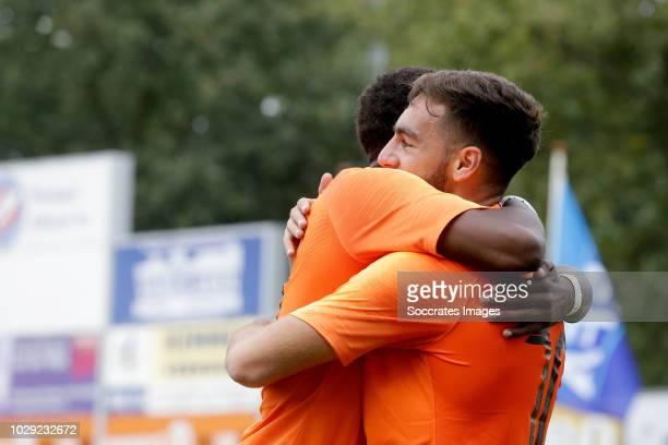 Orkun Kokcu of Holland U19 celebrates 10 with Daishawn Redan of Holland U19 during the match between Holland U19 v Czech Republic U19 at the...
