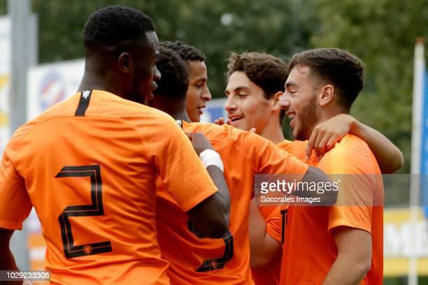 Orkun Kokcu of Holland U19 celebrates 10 with Daishawn Redan of Holland U19 Ludovit Reis of Holland U19 Mohammed Ihattaren of Holland U19 Juan...