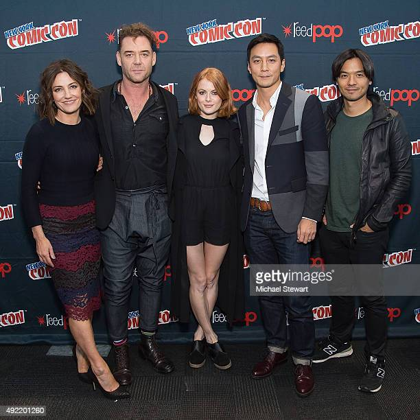 Orla Brady Marton Csokas Emily Beecham Daniel Wu and Stephen Fung pose in the press room for 'Into the Badlands' during New York ComicCon Day 3 at...