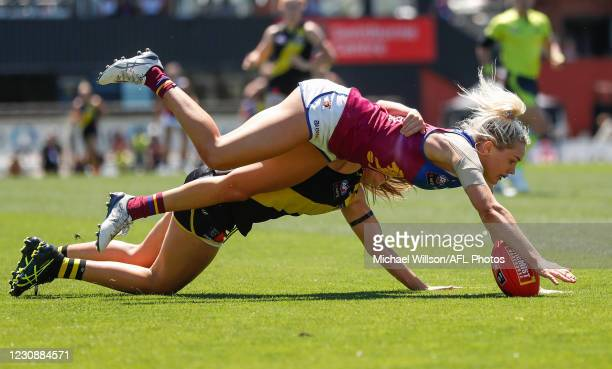 Orla O'Dwyer of the Lions in action during the 2021 AFLW Round 01 match between the Richmond Tigers and the Brisbane Lions at the Swinburne Centre on...