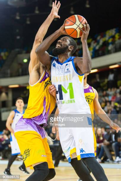 Orlan Jackman of Cheshire Phoenix controls the ball during the British Basketball League match between London Lions and Cheshire Phoenix at Copper...