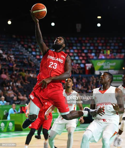 Orlan Jackman of England attempts a lay up during the Preliminary Basketball round match between Cameroon and England on day four of the Gold Coast...