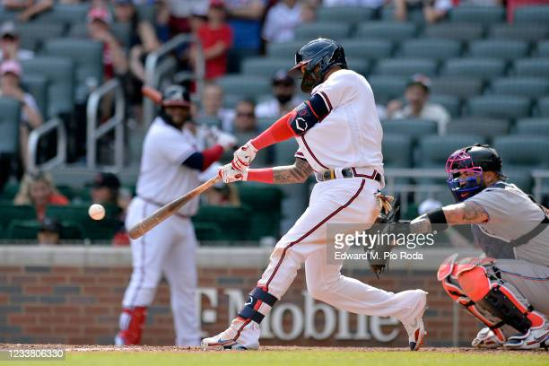 Orlando Arcia of the Atlanta Braves bats in the ninth inning against the Miami Marlins at Truist Park on July 4, 2021 in Atlanta, Georgia.
