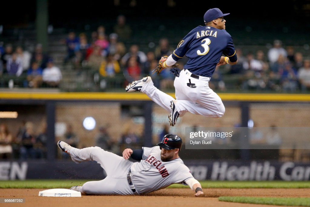 Orlando Arcia #3 of the Milwaukee Brewers attempts to turn a double play over Jason Kipnis #22 of the Cleveland Indians in the first inning at Miller Park on May 9, 2018 in Milwaukee, Wisconsin.