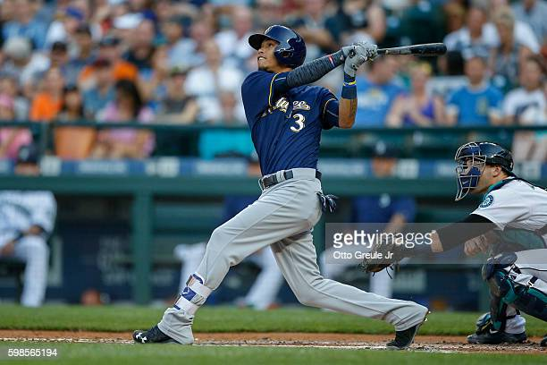 Orlando Arcia of the Milwaukee Brewers bats against the Seattle Mariners at Safeco Field on August 20 2016 in Seattle Washington
