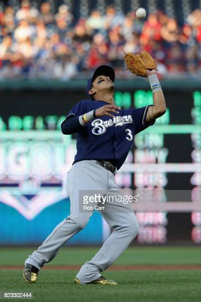 Orlando Arcia of the Milwaukee Brewers catches the ball against the Washington Nationals at Nationals Park on July 26 2017 in Washington DC