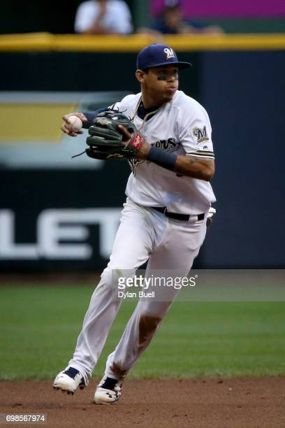 Orlando Arcia of the Milwaukee Brewers fields a ground ball in the fourth inning against the Pittsburgh Pirates at Miller Park on June 19 2017 in...