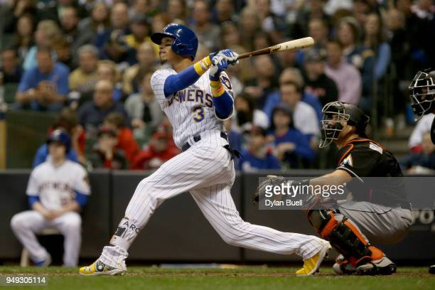 Orlando Arcia of the Milwaukee Brewers flies out in the third inning against the Miami Marlins at Miller Park on April 20 2018 in Milwaukee Wisconsin