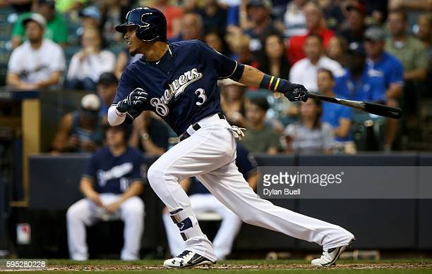 Orlando Arcia of the Milwaukee Brewers grounds out in the third inning against the Colorado Rockies at Miller Park on August 22 2016 in Milwaukee...
