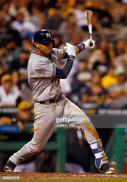 Orlando Arcia of the Milwaukee Brewers hits a RBI single in the eighth inning during the game against the Pittsburgh Pirates at PNC Park on September...