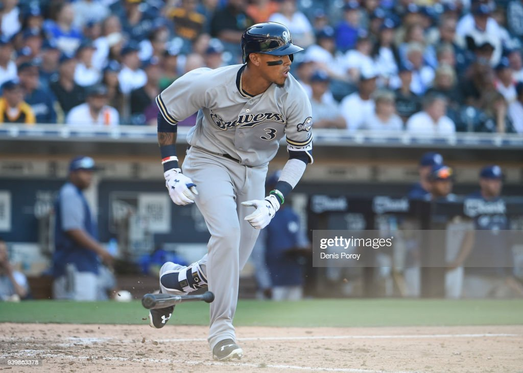 Orlando Arcia #3 of the Milwaukee Brewers hits an RBI single during the twelfth inning on Opening Day against the San Diego Padres at PETCO Park on March 29, 2018 in San Diego, California.