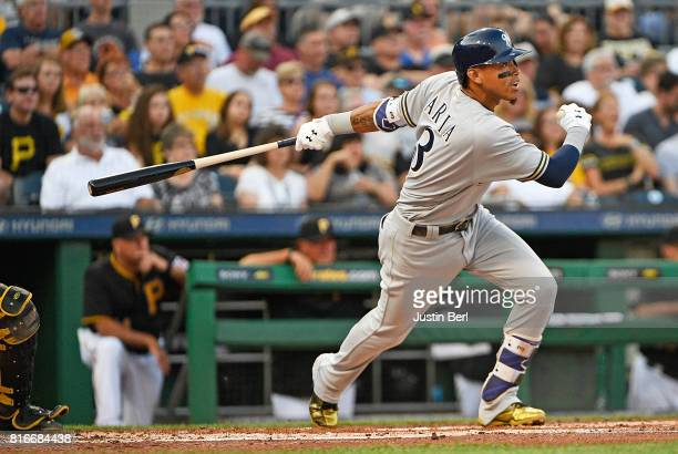 Orlando Arcia of the Milwaukee Brewers hits an RBI single to center field in the second inning during the game against the Pittsburgh Pirates at PNC...