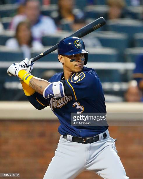 Orlando Arcia of the Milwaukee Brewers in action against the New York Mets at Citi Field on May 31 2017 in the Flushing neighborhood of the Queens...