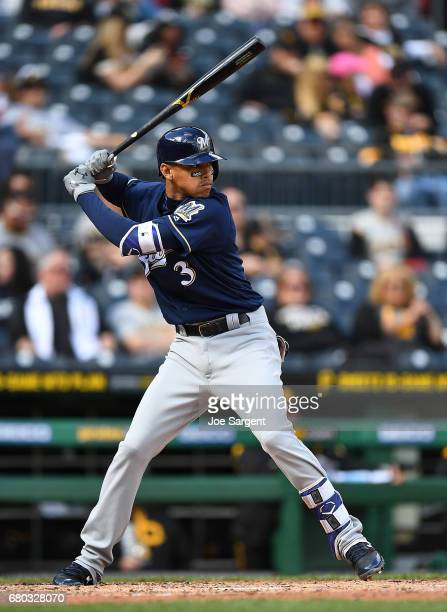 Orlando Arcia of the Milwaukee Brewers in action during the game against the Pittsburgh Pirates at PNC Park on May 7 2017 in Pittsburgh Pennsylvania