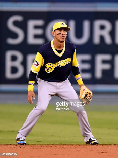 Orlando Arcia of the Milwaukee Brewers plays second base against the Los Angeles Dodgers at Dodger Stadium on August 25 2017 in Los Angeles California