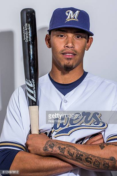 Orlando Arcia of the Milwaukee Brewers poses during photo day at the Maryvale sports complex on February 26 2016 in Maryvale Arizona
