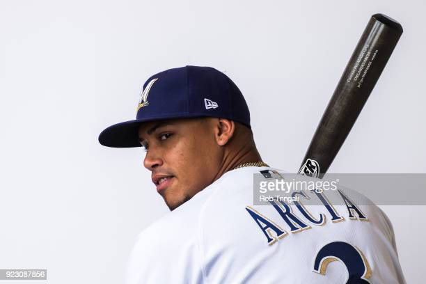 Orlando Arcia of the Milwaukee Brewers poses for a portrait during Photo Day at the Milwaukee Brewers Spring Training Complex on February 22 2018 in...