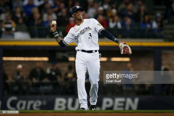 Orlando Arcia of the Milwaukee Brewers reacts after making a play in the second inning against the St Louis Cardinals at Miller Park on April 2 2018...