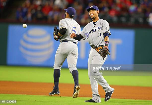 Orlando Arcia of the Milwaukee Brewers reacts after the Brewers make an out in the fourth inning against the Texas Rangers at Globe Life Park in...