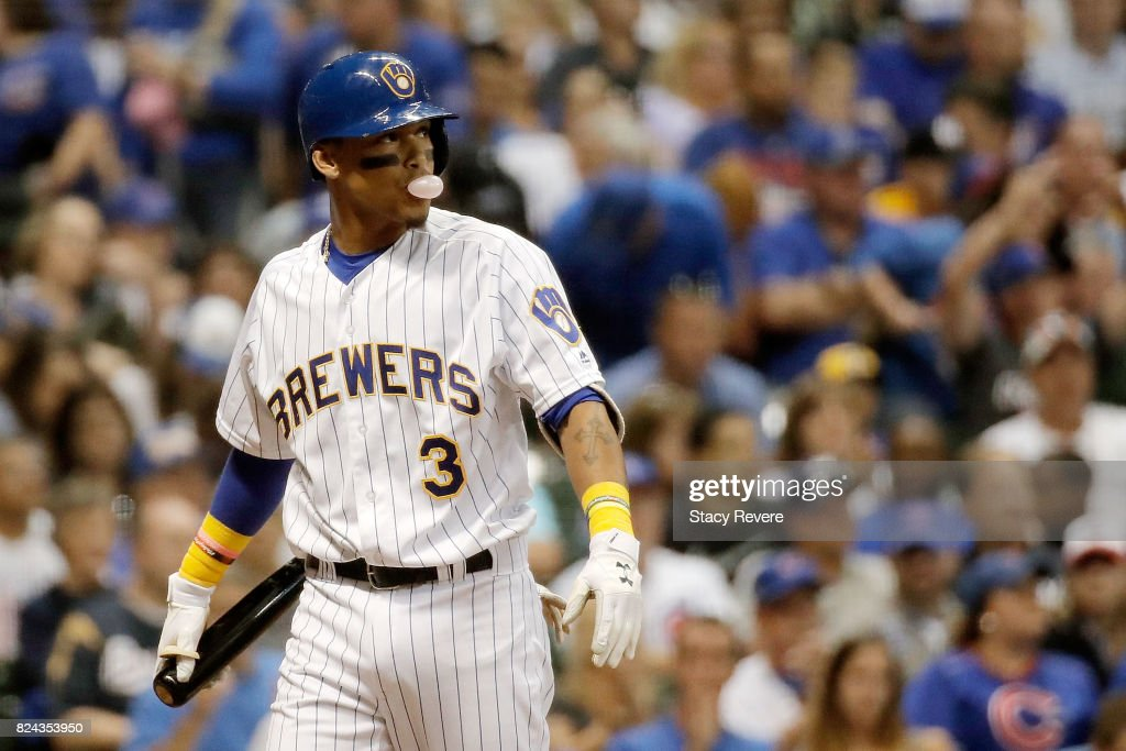 Orlando Arcia #3 of the Milwaukee Brewers reacts to a strike out during the seventh inning of a game against the Chicago Cubs at Miller Park on July 29, 2017 in Milwaukee, Wisconsin.