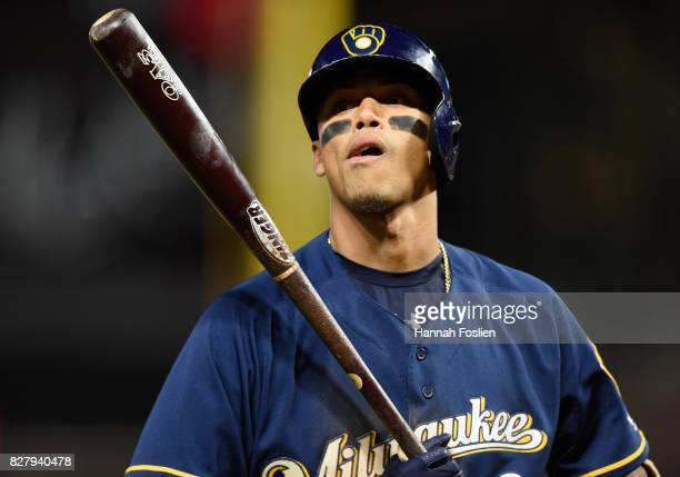Orlando Arcia of the Milwaukee Brewers reacts to striking out against the Minnesota Twins during the eighth inning of the game on August 8 2017 at...