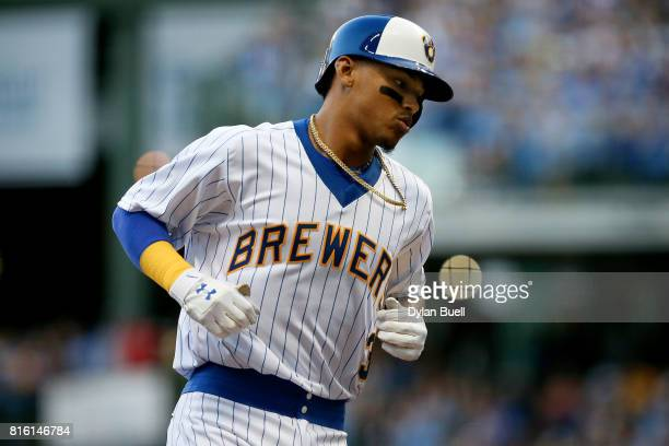 Orlando Arcia of the Milwaukee Brewers rounds the bases after hitting a home run in the second inning against the Philadelphia Phillies at Miller...