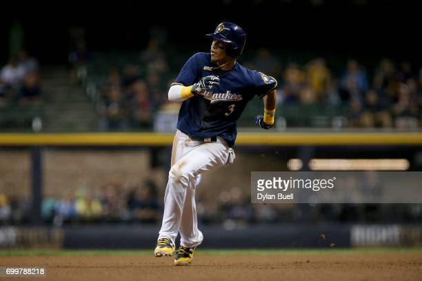 Orlando Arcia of the Milwaukee Brewers runs to third base in the sixth inning against the Pittsburgh Pirates at Miller Park on June 20 2017 in...