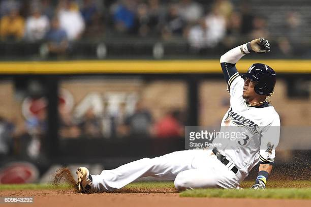 Orlando Arcia of the Milwaukee Brewers steals second base during the second inning of a game against the Pittsburgh Pirates at Miller Park on...
