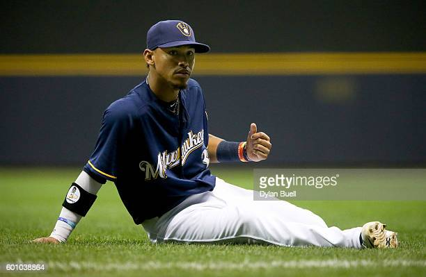 Orlando Arcia of the Milwaukee Brewers stretches before the game against the Chicago Cubs at Miller Park on September 7 2016 in Milwaukee Wisconsin